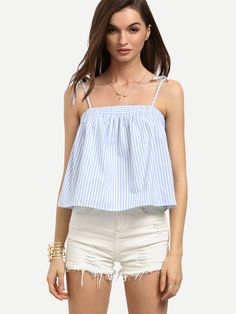 Online shopping for Blue Striped Spaghetti Strap Cami Top from a great selection of women's fashion clothing & more at MakeMeChic. Cool Outfits, Summer Outfits, Casual Outfits, Iranian Women Fashion, Girl Fashion, Fashion Dresses, Cami Tops, Western Wear, Creations