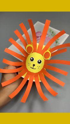 Hand Crafts For Kids, Animal Crafts For Kids, Craft Activities For Kids, Toddler Crafts, Preschool Crafts, Fun Crafts, Art For Kids, Lion Kids Crafts, Paper Animal Crafts