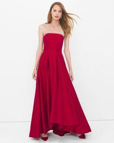 Strapless High-Low Taffeta Gown