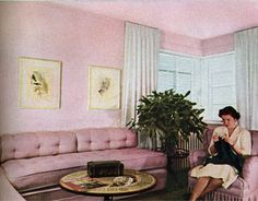 What girl wouldn't radiate self-satisfaction with her way of life in this setting? This room was completely furnished for $574 in 1942.   - HouseBeautiful.com