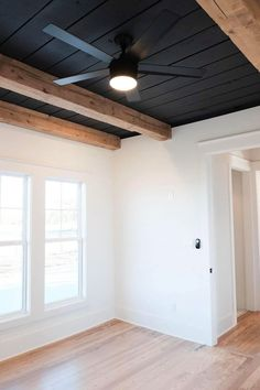 Home Renovation, Home Remodeling, Ceiling Beams, Basement Black Ceiling, Black Ceiling Paint, Ceilings, Shiplap Ceiling, Home And Living, Living Room