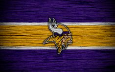 Download wallpapers Minnesota Vikings, 4k, wooden texture, NFL, american football, NFC, USA, art, logo, North Division