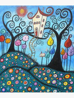 View Childhood Magic by Juli Cady Ryan and purchase the artwork as fine art print, canvas and framed wall art Fabric Painting, Painting & Drawing, Art Fantaisiste, Inspiration Art, Naive Art, Whimsical Art, Tree Art, Doodle Art, Fine Art Prints