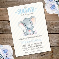 Printable Elephant Baby Shower Invitation Template. Invite your guests to your baby shower with our printable invitations.