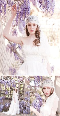 Lovely lavender and lace... Spring is right around the corner. Also see gorgeous bridal veils and headpieces on sale at: www.LaBellaBridalAccessories.com