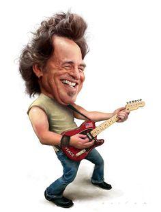 """CARICATURAS DE FAMOSOS: """"Bruce Springsteen"""" por Jason Seiler"""