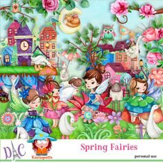 Spring Fairies by Kastagnette Sticker Paper, Stickers, Spring Fairy, Kit, 3d Paper, Fairies, Cartoon, Beautiful, Painting