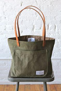 WWII era Military Canvas Pocket Tote Bag