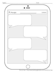 blank iphone text message bubble template french teaching ideas