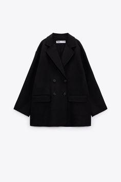CHAQUETA CRUZADA CON LANA - Negro | ZARA España Zara United States, Color Negra, Double Breasted, Hoods, Blazer, Belt, Long Sleeve, Sleeves, Jackets