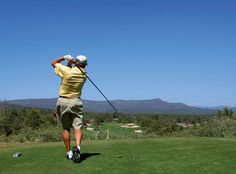 Photo about Golfer driving golf ball on beautiful golf course with clear blue sky in the mountainsThis is the image online. Image of fairway, club, game - 1948370 E Sport, Clear Blue Sky, Banner Template, Toscana, Pattern Drawing, Golf Ball, Trekking, Golf Courses, Ads