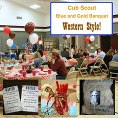 Cub Scout Blue & Gold Western theme, games decor, food ideas, great post! They even had the boys make stick horses for a race