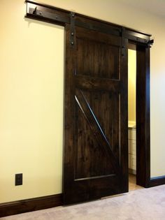 Sliding barn doors are popular in modern home design, and are a beautiful addition to your home. Find hanging barn doors here for your next home project. Indoor Sliding Doors, Indoor Barn Doors, Sliding Door Systems, Interior Sliding Barn Doors, Sliding Barn Door Hardware, Sliding Cupboard, Cupboard Doors, Barn Door Track, Diy Barn Door