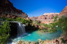 Navajo Falls in Havasu Canyon on the Havasupai Indian Reservation. bearfoottheory.com