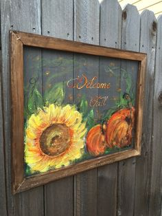 Welcome fall signHand painting window screen by RebecaFlottArts