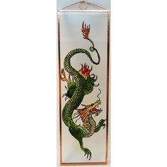 Kínai sárkány Grafika: Navratil Zsuzsa üvegre kivitelezte: Kőrösi Andrea Mérete: 7,5 cm x 23,5 cm