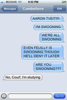 Texts from courfeyrac! Love this guy. And, incidentally, Aaron Tveit. *swoon*
