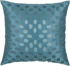 "Rizzy Home T03604 18"" x 18"" Pillow with Hidden Zipper and Polyester Filler Peacock Blue Home Decor Pillows Pillows"