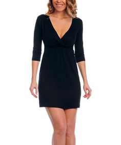 Look what I found on #zulily! Black Surplice Dress - Plus Too #zulilyfinds