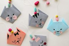 How to get children folding EASY ORIGAMI TULIPS. A great starting origami with only a few steps. Origami is a … Gato Origami, Origami Diy, Design Origami, Origami Star Box, Kids Origami, Origami Love, Origami Paper, Simple Origami For Kids, Cat Crafts