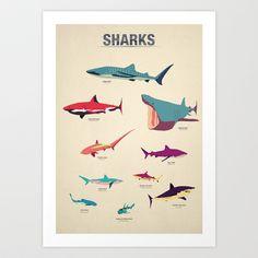 Sharks Art Print by Simon Alenius - $19.00