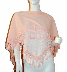 Soft Pink Triangle Knit & Lace Fashion Scarf