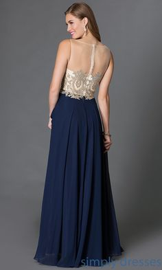 Shop embroidered bodice long prom gowns at SimplyDresses. Sleeveless beaded floor length designer prom dresses and evening gowns for formals.