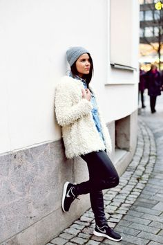 Fluffy jacket and sporty shoes  http://just-my-imagination.indiedays.com/2014/11/27/new-denim-shirt/