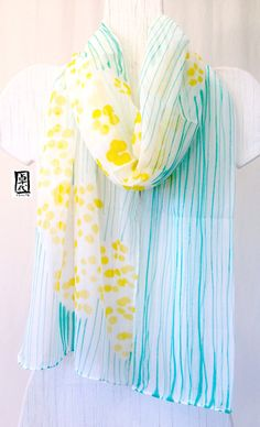 Hand Painted Silk Scarf, Yellow Sumi Wildflowers, Large Japanese Silk Scarf, Yellow and Emerald Green. 14x70 in.