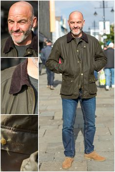 We met Chris in Newcastle wearing his treasured Barbour Wax Jacket -accompanied by denim jeans and tan boots!