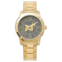 Scottish Terrier in Gold Charcoal Plaid Wristwatch