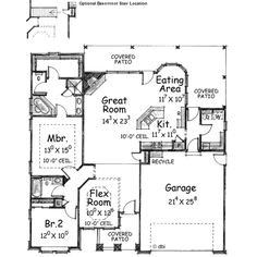 Traditional Style House Plan - 2 Beds 2 Baths 1615 Sq/Ft Plan #20-1369 Floor Plan - Main Floor Plan - Houseplans.com