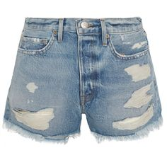 FRAME Rigid Re-Release Le Original distressed denim shorts (8.555 UYU) ❤ liked on Polyvore featuring shorts, bottoms, short, my clothes, blue short shorts, 80s shorts, 80s short shorts, blue shorts and frayed shorts