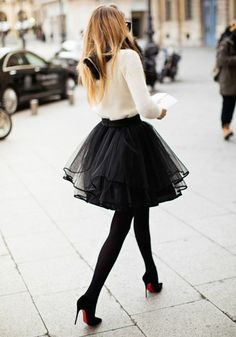 Black Plain Pleated Tiered Ribbon Lining The Edge Party Tulle Chiffon Adorable Tutu Mini Skirt - Skirts - Bottoms