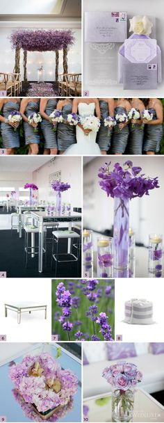 lavender wedding! Love that lavender covered pergola... love the color of the bridesmaid dresses.. sort of a gray lavender WedLuxe Magazine