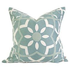 """Cotton-linen pillow with a down fill.   Product: PillowConstruction Material: Cotton, linen and down fillColor: BlueFeatures: Insert includedDimensions: 18"""" x 18"""""""