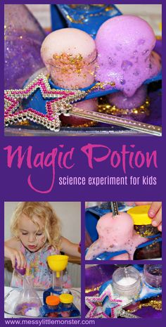 Wow the kids with this fun and easy science experiment. They will be amazed as they watch baking soda and vinegar react to form a fizzing magic potion. This cool science experiment for preschoolers upwards would make a fun Halloween activity for kids! Easy Games For Kids, Easy Art For Kids, Science For Toddlers, Magic For Kids, Science Experiments For Preschoolers, Preschool Science Activities, Science Party, Cool Science Experiments, Science Games