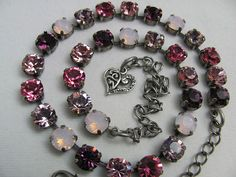 Swarovski Crystal Cup Chain Necklace, Light Dark Pink, 39ss Chatons, 30 Stones  #Handmade