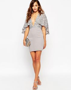 Image 4 of ASOS Embellished Cape Back Mini Dress