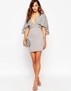 Image 4 ofASOS Embellished Cape Back Mini Dress