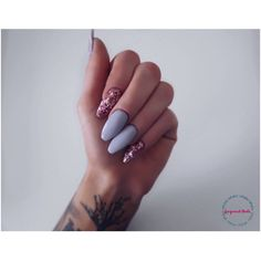 Pink Hexagon Glitter Grey Nail Set, 20 nails, false nails, Stiletto... (80 RON) ❤ liked on Polyvore featuring beauty products, nail care, nail treatments and nails