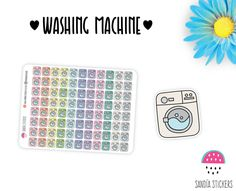 Washing Machine Planner Stickers, Cleaning Stickers, Erin Condren, Plum Paper Planner, Filofax,Kikkik, Limelife. de SandiaStickers en Etsy