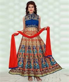 Buy Cream Banglori Silk Readymade Anarkali Suit 72150 online at lowest price from huge collection of salwar kameez at Indianclothstore.com.