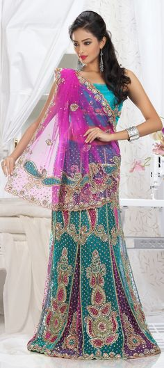 148395: Pink and Majenta, Green color family Saree with matching unstitched blouse.