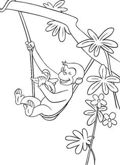 George The Monkey Eating A Banana In The Tree Coloring Pages - Curious George Coloring Pages : KidsDrawing – Free Coloring Pages Online Tree Coloring Page, Truck Coloring Pages, Animal Coloring Pages, Coloring Book Pages, Printable Coloring Pages, Coloring Pages For Kids, Free Coloring, Curious George Party, Curious George Birthday