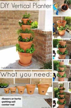 26 Beautiful Simple and Inexpensive Garden Projects Realized With Clay Pots