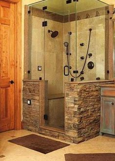 Similar Stone To What We Want, And Half Wall. Bathroom Shower U003c   LOVE This  Look! To Save Money, Only Put In Detachable Shower Head U0026 Not Multi Faucets.