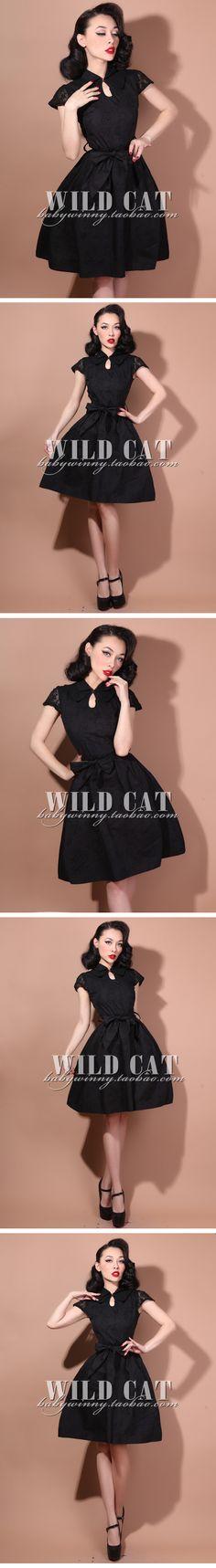 Elegant retro classic black lace sleeves thin big swing babydoll dress 0.25kg-Taobao