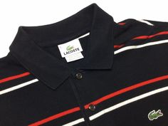 LACOSTE Men's 5 (L) Balck Red White Striped Short Sleeve Pique Polo Shirt #Lacoste #PoloRugby | Men's Fashion & Style | Shop Menswear, Men's Clothes, Men's Apparel and Accessories at designerclothingfans.com