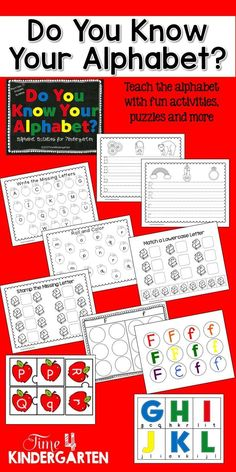 Everything you need to teach the alphabet. Includes handwriting, clip a letter, alphabet puzzles and more.